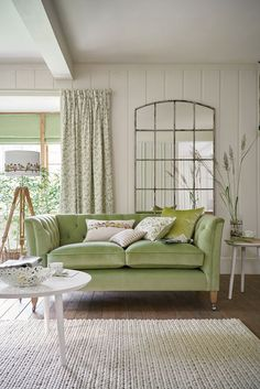 Absolutely love that green sofa. Laura Ashley Spring/Summer 2016 Catalog by Laura Ashley Sweden - issuu Cottage Living Rooms, Living Room Interior, Home And Living, Living Room Decor, Living Spaces, Laura Ashley Home, Home Furniture, Living Room Furniture, Furniture Removal