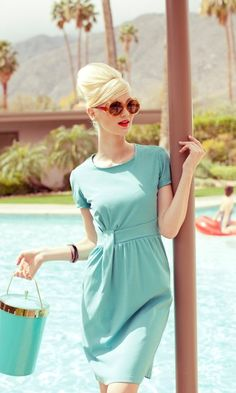 60's style dress in turquoise. Love the retro styling!