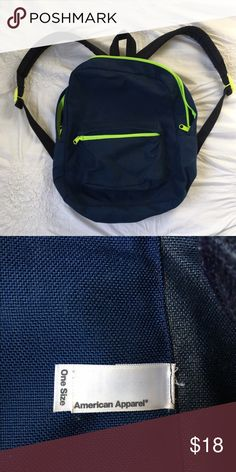 American Apparel Mini Backpack Used but in excellent condition! Navy and lime green. American Apparel Bags Backpacks