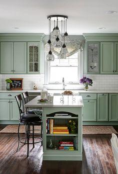 """dark kitchen cabinets ( Top ) Green Kitchen Cabinets - """" Good for Kitchen? """" Get Ideas. Olive Green Kitchen, Green Kitchen Island, Sage Kitchen, Small Farmhouse Kitchen, Green Kitchen Cabinets, Kitchen Cabinet Colors, Painting Kitchen Cabinets, Farmhouse Kitchens, White Cabinets"""
