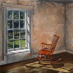 Christina's Chair - Still Life. Christina Olsen's rocking chair in oil, scene from the Olsen House in Cushing, Maine, where Andrew Wyeth created Andrew Wyeth Paintings, Andrew Wyeth Art, Jamie Wyeth, Mary Cassatt, American Artists, American Realism, Matisse, Rocking Chair, Monet