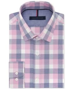 Tommy Hilfiger Men's Slim-Fit Non-Iron Pink Check Dress Shirt