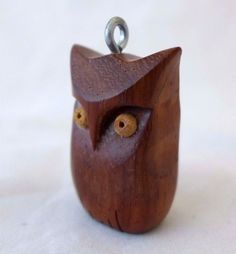 Retro Owl Necklace Pendant Wooden Hand Carved Rosewood