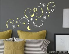 Shooting Stars and moon set of over 50 matte vinyl wall decals. $24.00, via Etsy.