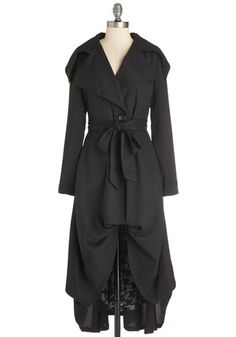 Let's Get Flowing Coat - Long, Black, Solid, Buttons, Pockets, Belted, Long Sleeve, 2, Work, Casual, Vintage Inspired, Steampunk, Spring, Summer, Fall, Woven, Better, Collared, Black