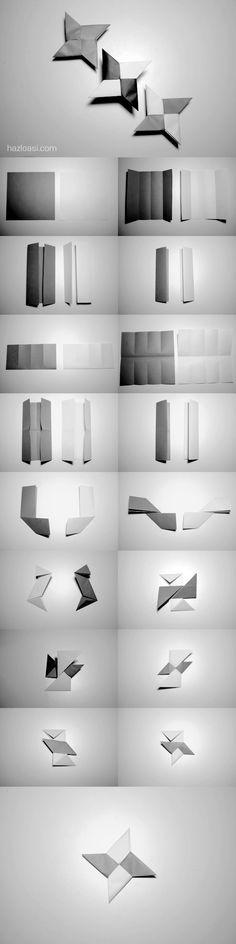 Origami. How to make a paper star, Ninja Shuriken. http://www.hazloasi.com/2014/08/origami-how-to-make-paper-star-ninja.html Como hacer una estrella ninja de papel, Shuriken.