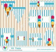 Kit Festa Sorvete mod:113 Ice Crean Printable Party