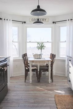ideas for farmhouse dining room curtains beautiful , Dining Room Curtains, Kitchen Window Curtains, Bay Window In Kitchen, Curtains For Big Windows, Dining Rooms, Window Moldings, Bay Window Curtain Rod, Blinds Curtains, Dining Room Windows