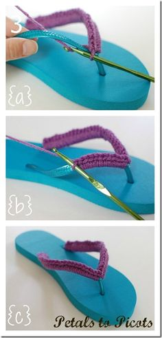 almost flipflop season! I hate it when the flipflops rub though. here is a quick and easy solution to that. This website also adds a crochet flower, but you could thread beads or something else pretty. Simple inexpensive way to brighten up a cheap pair of flipflops.