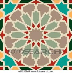 Clip Art - Green, Tan and Red Arabesque Design. Fotosearch - Search Clipart, Illustration Posters, Drawings, and EPS Vector Graphics Images Geometric Drawing, Geometric Art, Geometric Patterns, Geometric Designs, Vector Graphics, Vector Art, Eps Vector, Arabian Pattern, Motifs Islamiques