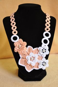 -Crochet Necklace with Flowers Knitted Jewelry by macramemarket