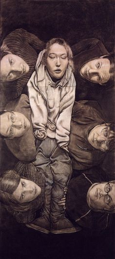 "Tim Lowly, Carry Me, 2002 - Drawing on panel, 108"" x 48"", private collection, Chicago."