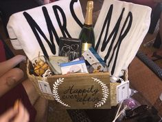 Honeymoon gift basket for my sister. Personalized it with things I knew she loved.