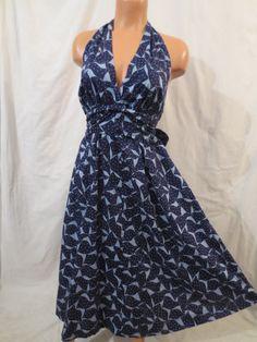 ATOMIC BOMBSHELL tiki halter dress - full skirt - Mr Lee Custom Design sz M