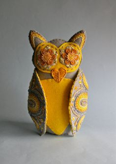 Owl Doll- Embroidered Felt- Mexican Folk Art- Grey & Yellow