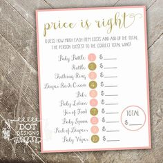 Baby Shower Price is Right Game - Once Upon a Time - Shower Game - Pink and Gold - Instant Digital Download by MBdotDesigns on Etsy