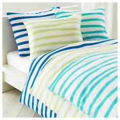 Springkorn Duvet cover and pillowcase, aqua or light pink stripes, $15 - IKEA