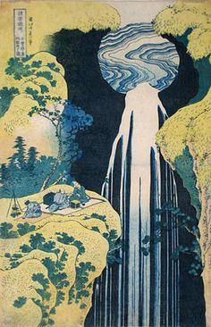 HOKUSAI (Litsu) Cascade d' Amida, Province de Kiso, c.1830, série voyage au fil des cascades