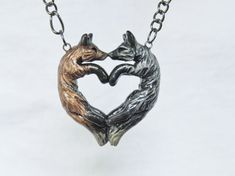 Fox Love Necklace Red Silver Couple Heart by FoxCraftCreations