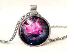 Pink Nebula Space Photo Pendant With Chain,Space Galaxy Necklace Gift