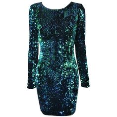 Emerald Sequin Dress (130 AUD) ❤ liked on Polyvore featuring dresses, short dresses, vestidos, robes, blue dress, blue sequin cocktail dress, short blue dresses and short sequin cocktail dresses