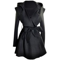 Slim Hooded Black Trench Coat via Polyvore