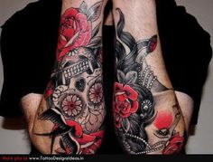 Day of the Dead Tattoo Sleeve | Tatto design of Sugar Skull Tattoos sugar skull - TattooDesignsIdeas ...