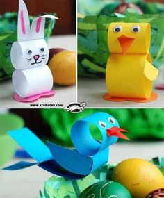 Easter crafts for kids No link but looks straightforward enough. Painted toilet roll tubes assembled in the shape of Easter animals. The post Easter crafts for kids appeared first on Knutselen ideeën. Easy Easter Crafts, Easter Art, Diy And Crafts Sewing, Easter Crafts For Kids, Toddler Crafts, Crafts For Teens, Easter Ideas, Easter Eggs, Crafts Toddlers