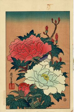 "Japanese Ukiyo-e Woodblock print Hiroshige ""Peonies and Bird"""