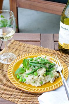 Asparagus Pea Mint Risotto