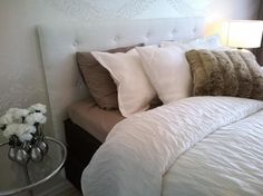 White and brown bedroom, white bedspread, white headboard White And Brown Bedroom, White Bedspreads, White Headboard, Bed Spreads, Home, White Bed Comforters, Ad Home, Homes, Haus