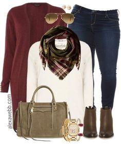 Plus Size Burgundy Cardigan Outfit - Plus Size Outfit Idea - alexawebb.com #alexawebb