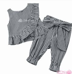 2018 Fashion Baby Girl Clothes Set Girls Striped Ruff C Baby Outfits, Girls Summer Outfits, Kids Outfits, Baby Dresses, Winter Outfits, Baby Girl Fashion, Kids Fashion, Trendy Baby Girl Clothes, Summer Clothes