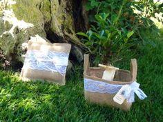 Bomboniera Ecologica borsetta in juta con bonsai più cuscino portafedi a tema