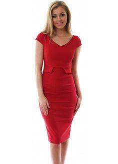 Vesper Phoebe Wide Neck Lace Detail Red Pencil Dress