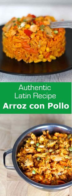 Arroz con pollo is a traditional Latin American recipe with rice, chicken and vegetables that are cooked together and which owes its color to annatto. #costarica