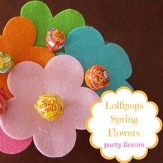 Lollipops Spring Flower Party Favors