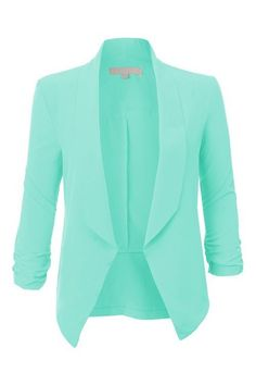 Ruched Sleeve Jacket in Mint. I have a small obsession with blazers...