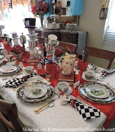 Welcome to the 415th Tablescape Thursday! Last October, Elena threw a fabulous Mad Hatter Dinner/Tea Party for her parents who were celebrating their 86th and 87th birthdays! The party was a big ce…
