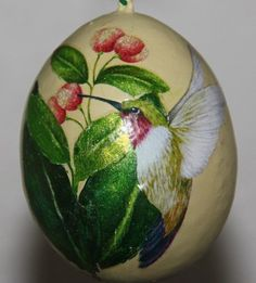 hummingbird gourds | Large Egg Gourd Ornament with Hummingbird and Flowers | gaylasart ...
