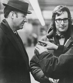 William Friedkin and Gene Hackman on the set of The French Connection.