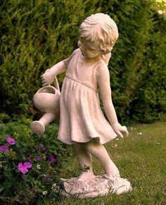 Garden Statues And Ornaments Girl Figure Garden Statue - Watering The Garden Ornament Angels Garden, Magic Garden, Outdoor Garden Statues, Outdoor Gardens, Concrete Garden Statues, Ideas Para Decorar Jardines, Deco Floral, My Secret Garden, Cute Little Girls