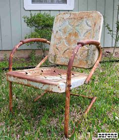 "Vintage Metal Lawn Chair... - these chairs bring healthy ""Better n New"" prices... Even in this condition... An I just Love 'em... Just the way it is..."