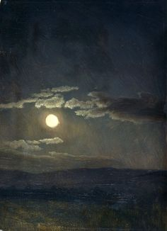 Cloudy Study, Moonlight - 1860 by Albert Bierstadt, American Painter from Content in a Cottage