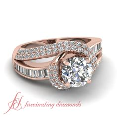 Round & Straight Baguette Cut Diamonds 14K Rose Gold Side Stone Engagement Ring In Channel Setting || Twirl Embellished Ring
