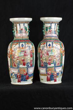 Pair Chinese Qing Porcelain Temple Vases Urns Ceramic