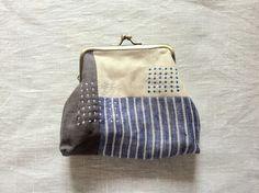 がま口ポーチ blue stripe | HandMade in Japan 手仕事の新しいマーケットプレイス iichi