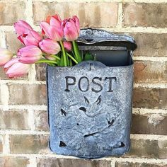 Antique reproduction wall-mount post box collects mail, magazines, and other papers in style. Simply charming with embossed bird and laurel motif. Antique Mailbox, Vintage Mailbox, Going Postal, Post Box, Flag Decor, Welcome Mats, Porch Decorating, Modern Minimalist, Curb Appeal