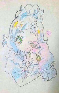 Anime Chibi, Kawaii Anime, Manga Anime, Anime Art, Pretty Cure, Anime Pirate Girl, Cool Paper Crafts, Paper Drawing, Girl Sketch