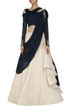 Midnight Blue and Ecru Off Shoulder Saree Lehenga By Gaurav Gupta #ethnic #traditional #pernia #perniaspopupshop #ethnicwear #indianwear #shopnow #gauravgupta